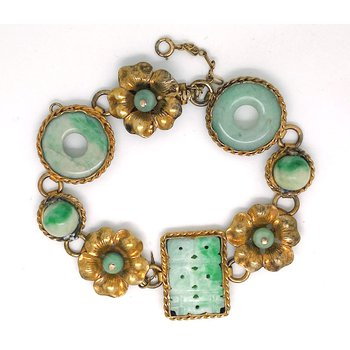 Lady's vintage jade and gold plated sterling bracelet