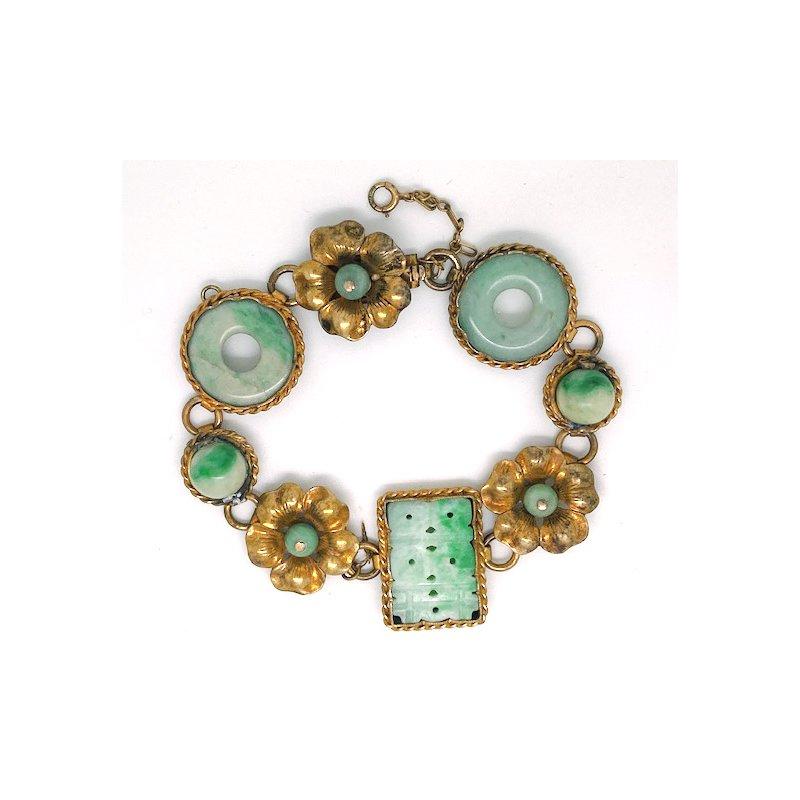 Estate & Vintage Lady's vintage jade and gold plated sterling bracelet