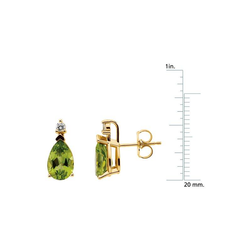 Ladies' Jewelry Genuine Peridot & Diamond Earrings
