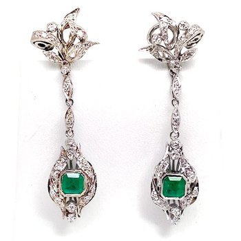 Lady's vintage white gold, emerald and diamond dangle earrings