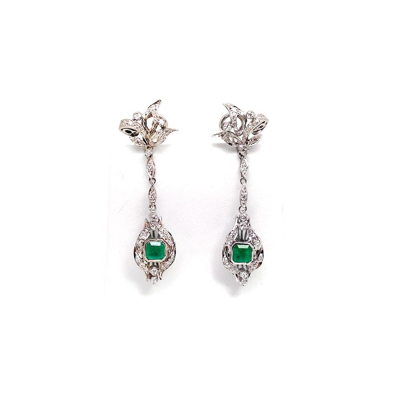 Estate & Vintage Lady's vintage white gold, emerald and diamond dangle earrings