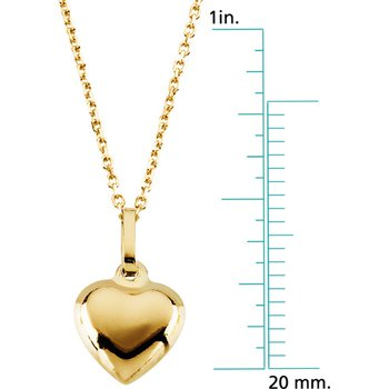 Children's Puffed Heart Pendant On Chain