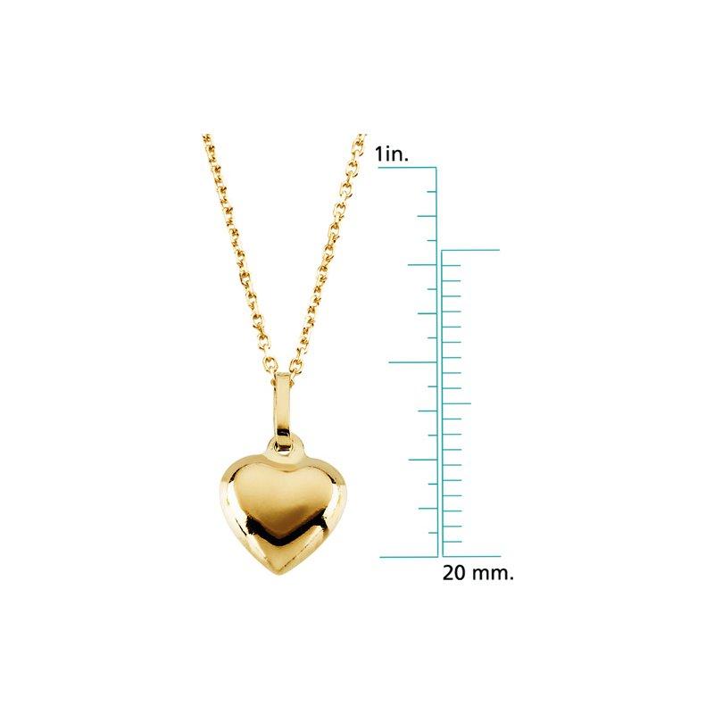Children's Jewelry Children's Puffed Heart Pendant On Chain
