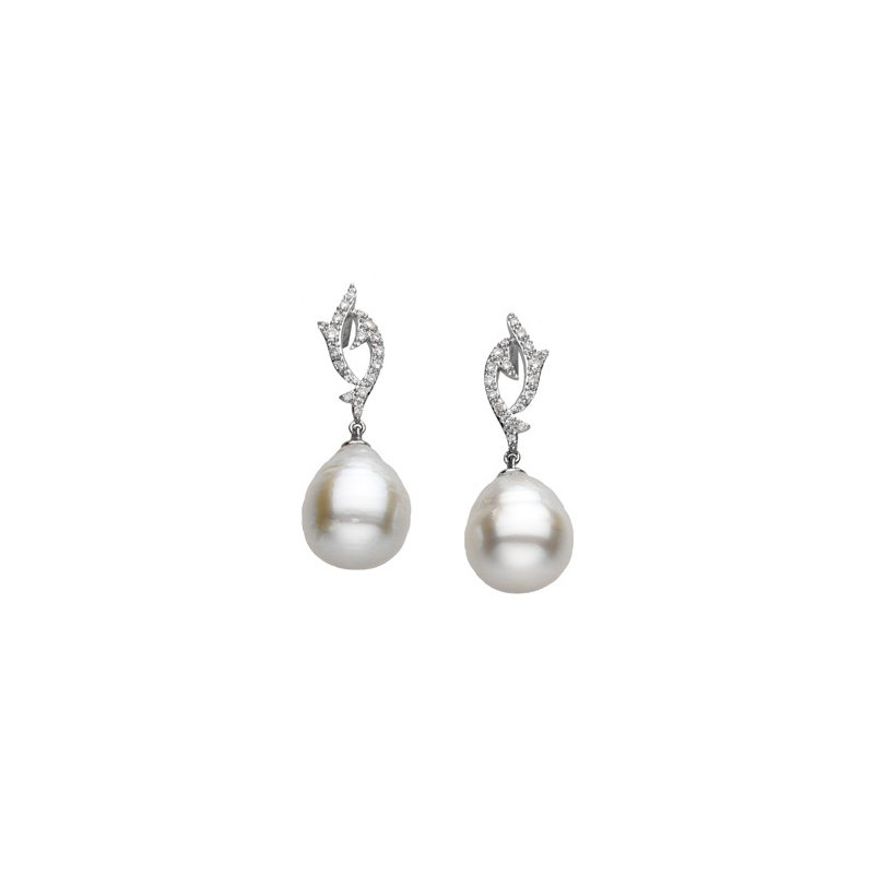 Ladies' Jewelry South Sea Cultured Pearl & Diamond Earrings