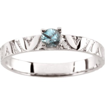 Children's Genuine Blue Zircon December Birthstone Ring