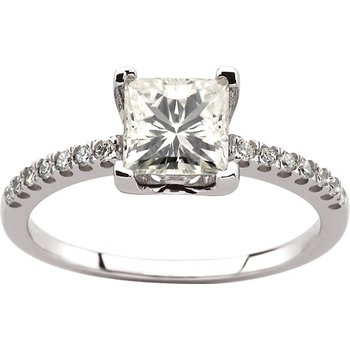 Moissanite & Diamond Ring