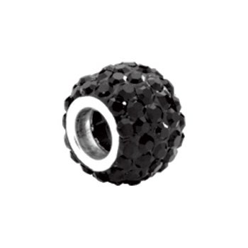 Kera Roundel Bead with Pave' Jet Crystals