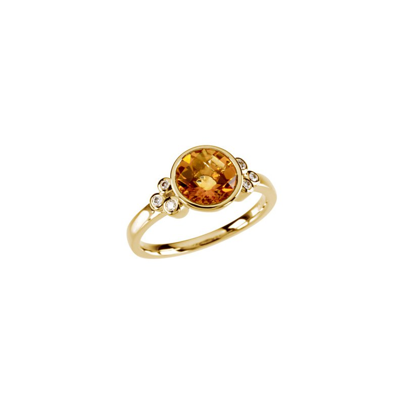 Ladies' Jewelry Genuine Checkerboard Golden Citrine & Diamond Ring