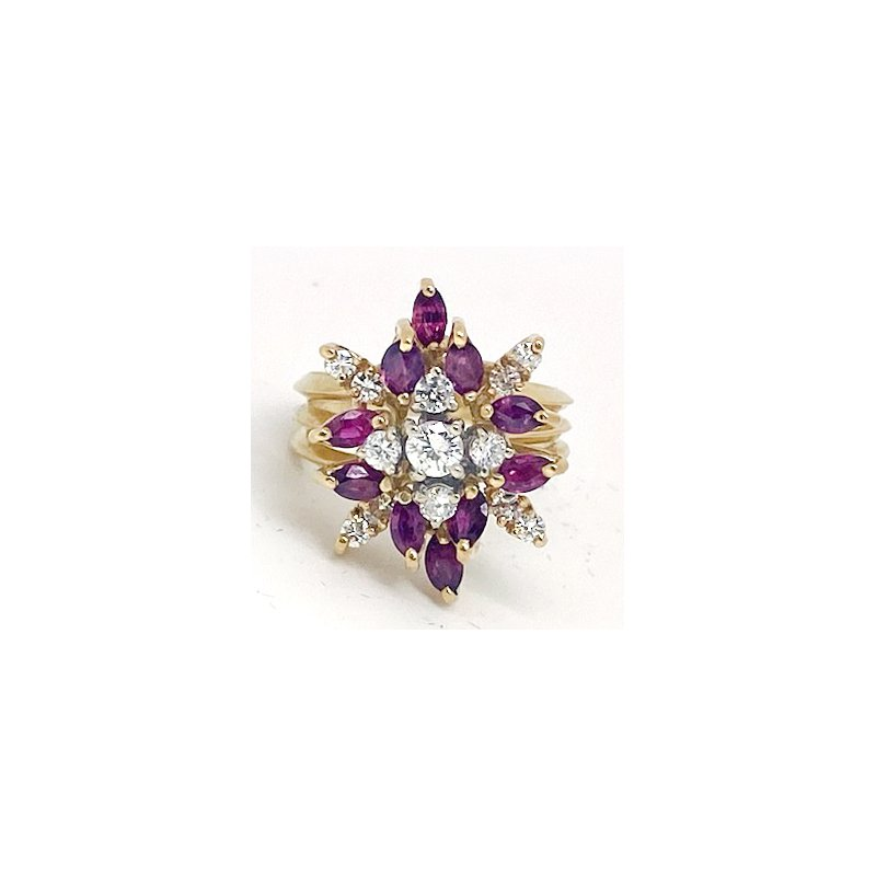 Estate & Vintage Lady's vintage ruby, diamond and yellow gold ring