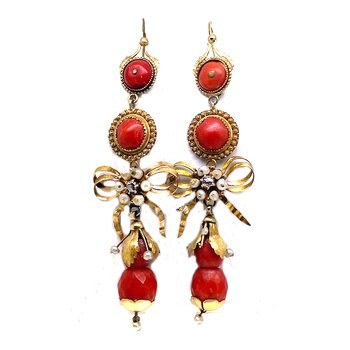Lady's, Victorian style, yellow gold, coral, pearls and diamond dangle earrings with lever backs