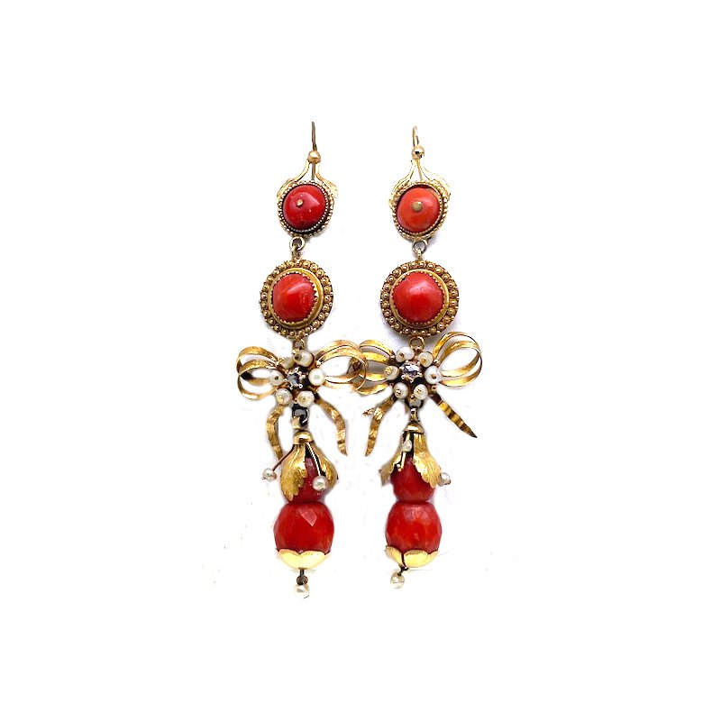 Estate & Vintage Lady's, Victorian style, yellow gold, coral, pearls and diamond dangle earrings with lever backs
