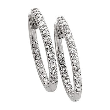 1 ct tw Diamond Inside-Outside Hoop Earrings