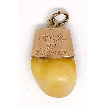 Vintage deer tooth and enamel pendant