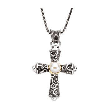 Freshwater Cultured Pearl Cross Necklace