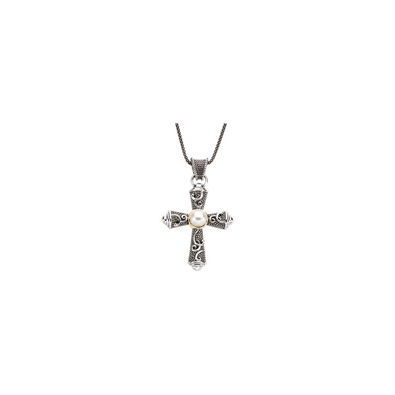 Religious Jewelry Freshwater Cultured Pearl Cross Necklace