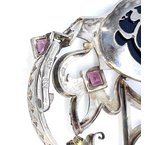 Estate & Vintage Lady's vintage tourmaline, onyx, and nickel crown choker pendant