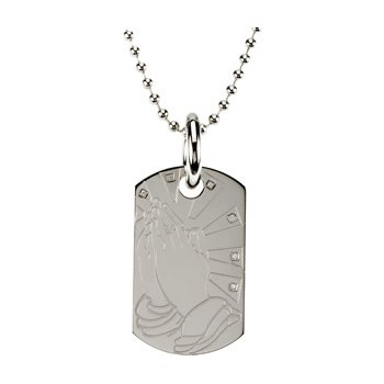 Praying Hands Dog Tag with 30 inch Bead Chain