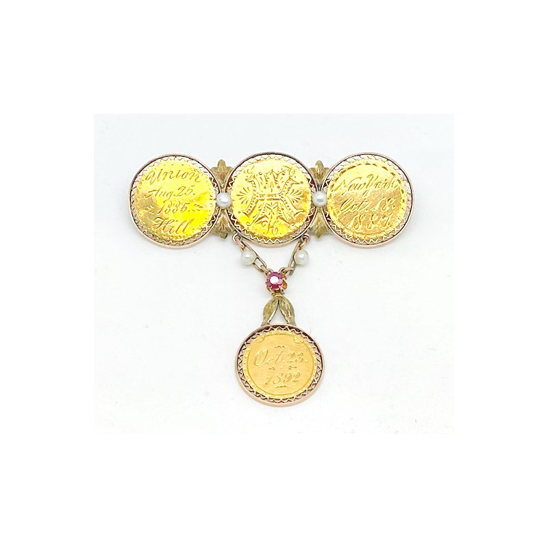 Estate & Vintage Lady's, Victorian style, yellow gold coin brooch