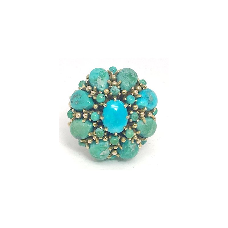 Estate & Vintage Lady's vintage turquoise and yellow gold cluster ring