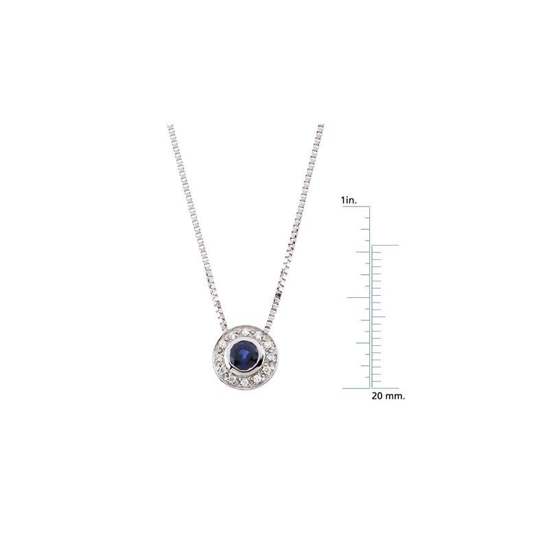Ladies' Jewelry Genuine Sapphire & Diamond Necklace