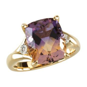 Genuine Ametrine & Diamond Ring