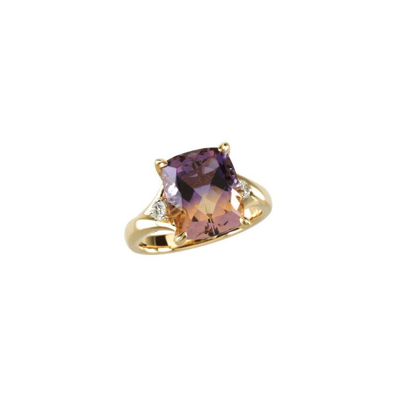 Ladies' Jewelry Genuine Ametrine & Diamond Ring