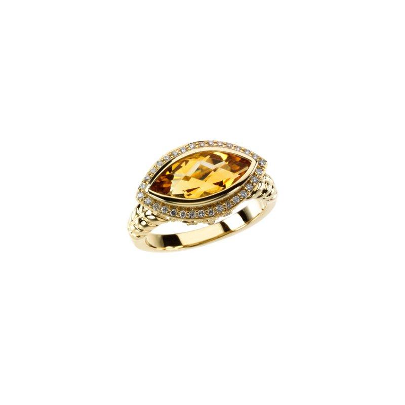 Ladies' Jewelry Genuine Checkerboard Citrine & Diamond Ring