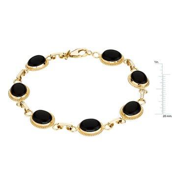Genuine Cabochon Onyx Bracelet