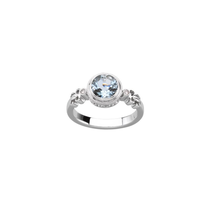 Ladies' Jewelry Genuine Aquamarine & Diamond Ring