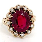 Estate & Vintage Lady's vintage synthetic ruby, pearl and yellow gold ring