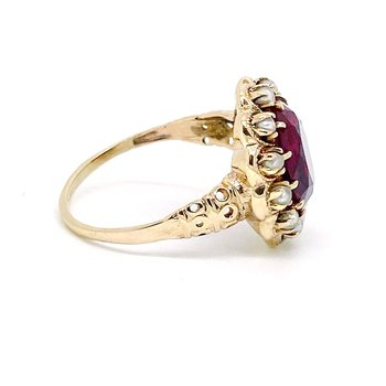 Lady's vintage synthetic ruby, pearl and yellow gold ring