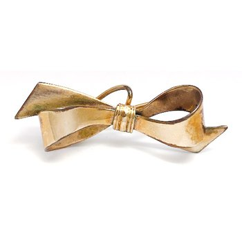 Lady's vintage yellow gold bow brooch