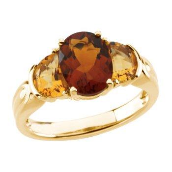 Genuine Madeira Citrine & Citrine Ring
