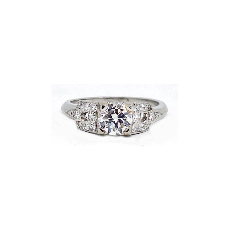 Vintage Bridal Platinum and Diamond, Art Deco Style Ring