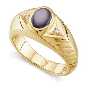 Men's Genuine Black Star Sapphire & Diamond Ring