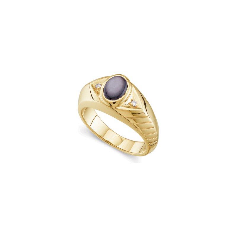 Men's Jewelry Men's Genuine Black Star Sapphire & Diamond Ring