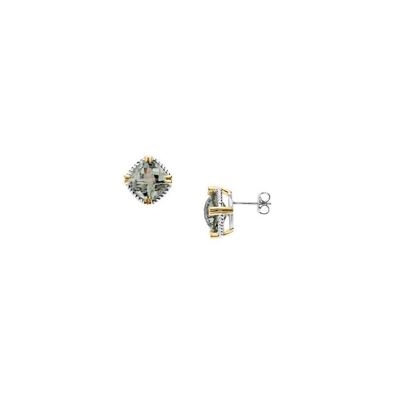 Holiday Ideas Sterling Silver & 14kt Green Quartz Earrings