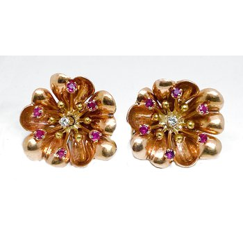 Lady's vintage ruby diamond and yellow gold clip earrings