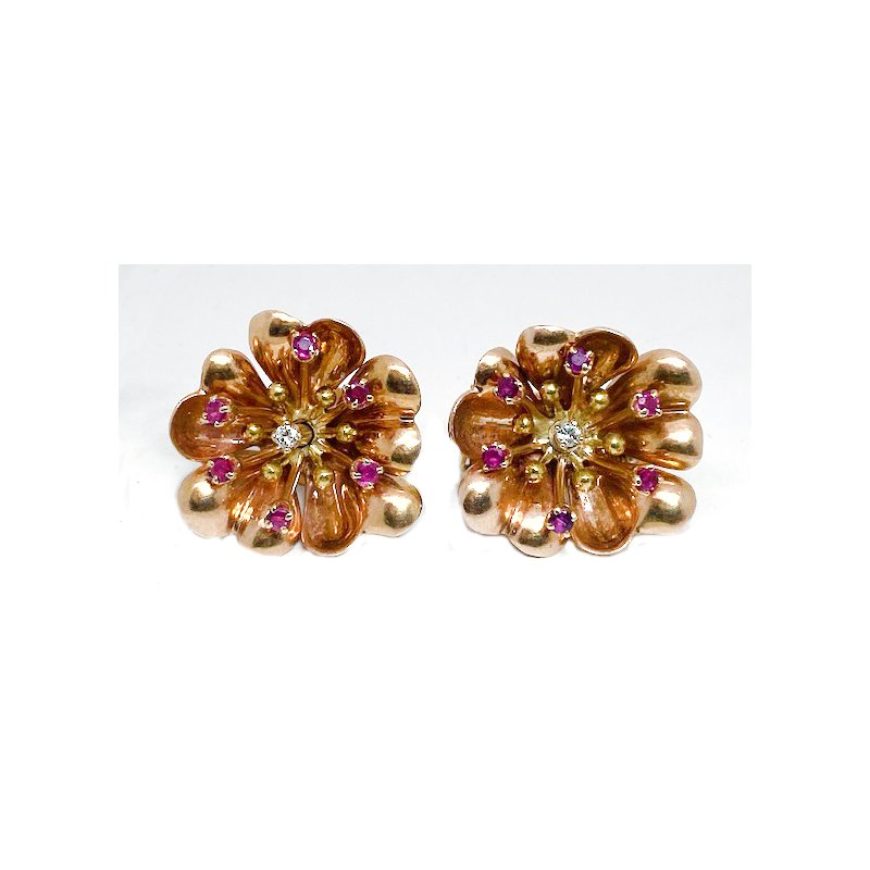 Estate & Vintage Lady's vintage ruby diamond and yellow gold clip earrings