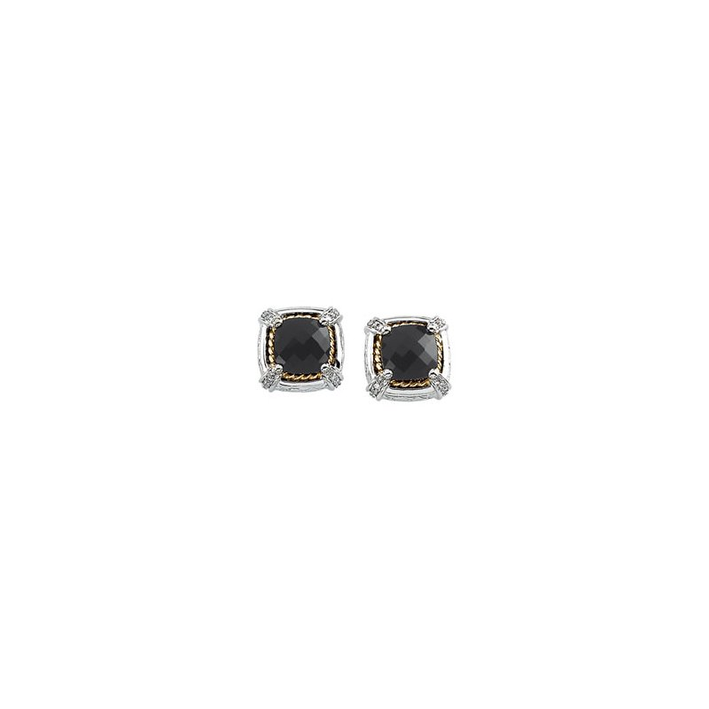 Ladies' Jewelry Genuine Checkerboard Onyx & Diamond Earrings