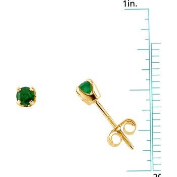 Children's Genuine Emerald May Birthstone Earrings