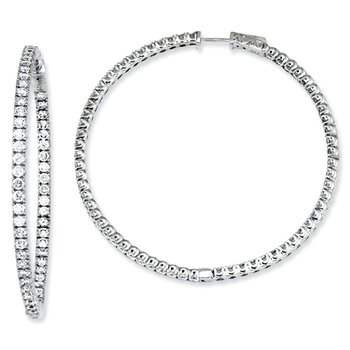 Sterling Silver CZ Round Hoop Earrings