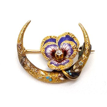 Lady's vintage, Art Nouveau design, diamond and enamel, crescent brooch