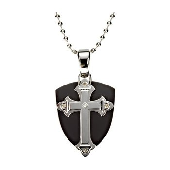 Ion Plated Cross Sheild with 30 inch Bead Chain