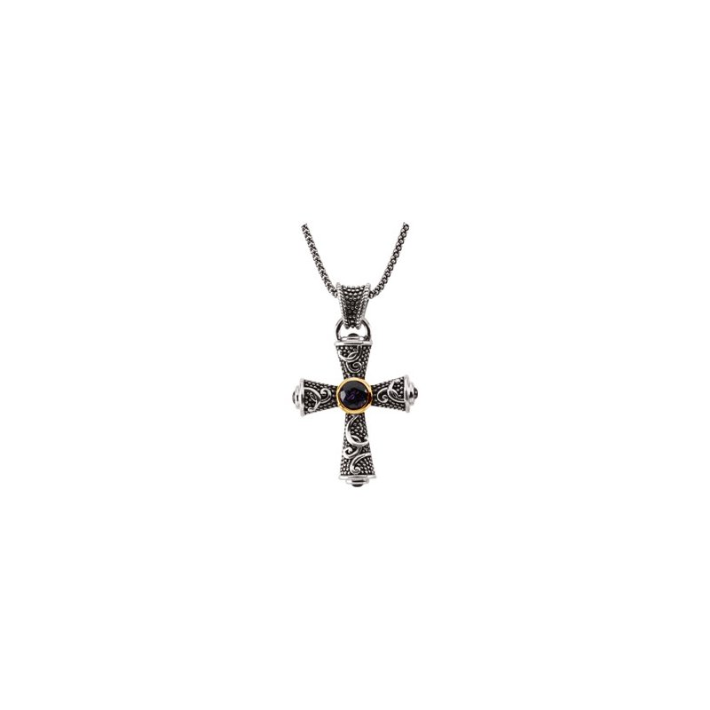 Religious Jewelry Genuine Amethyst and Sapphire Cross Necklace
