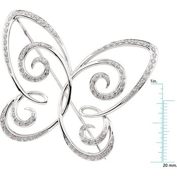 Diamond Butterfly Brooch Pin
