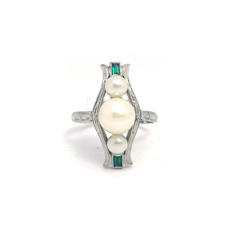 Estate & Vintage Lady's Art Deco design cultured pearl, emerald, and white gold cluster ring