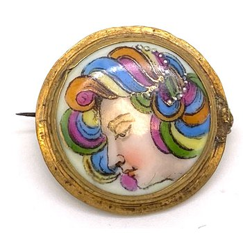 Lady's vintage multicolor brooch