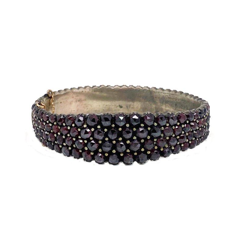 Estate & Vintage Lady's vintage garnet and silver tone bangle