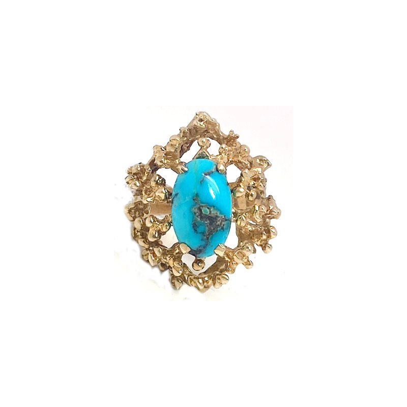 Estate & Vintage Lady's vintage turquoise and yellow gold freeform ring